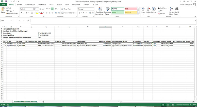Purchase Requisition Tracking Report
