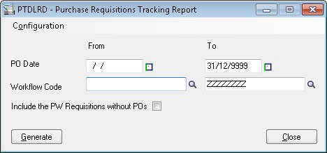 Purchase Requisition Tracking Selection Screen