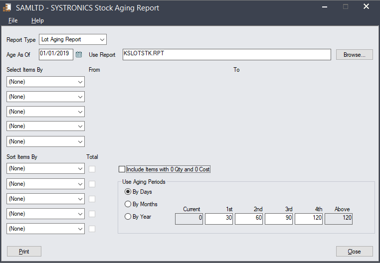 SYSTRONICS Stock Aging Report Customization Selection screen