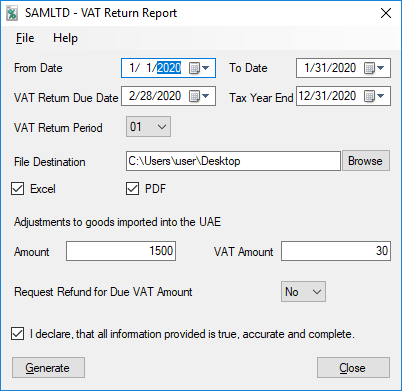 VAT Return Report Selection Screen